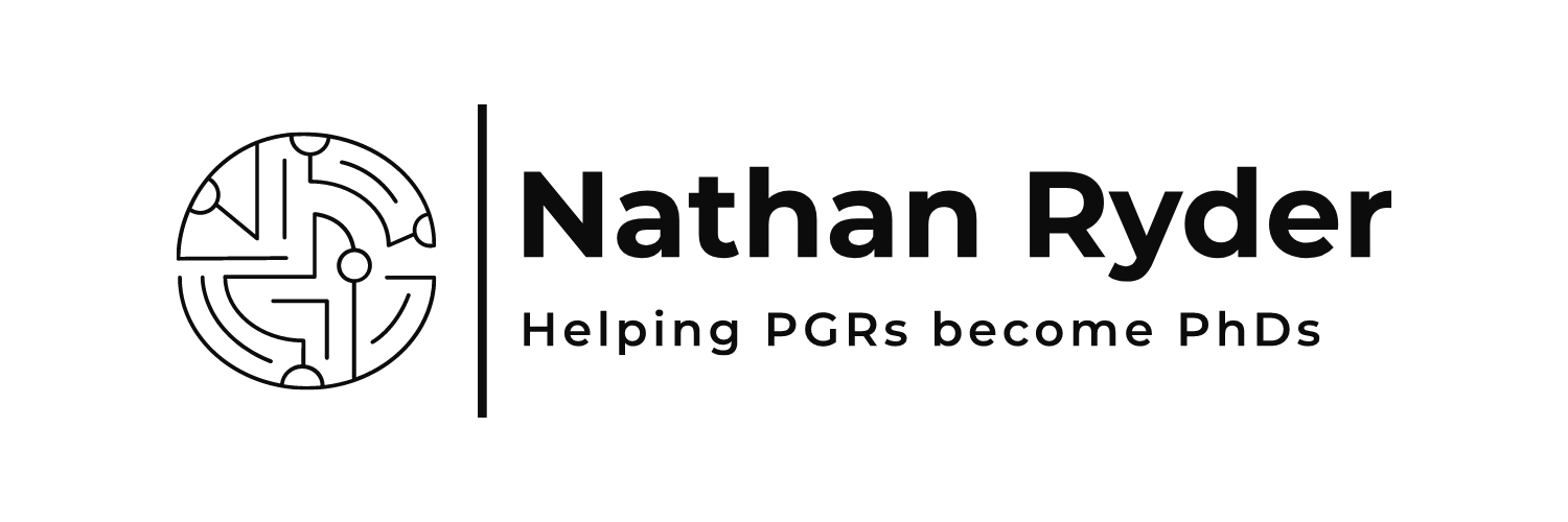 new logo, Nathan Ryder, helping PGRs become PhDs